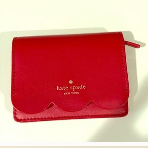 Kate Spade red scalloped coin purse. NWT